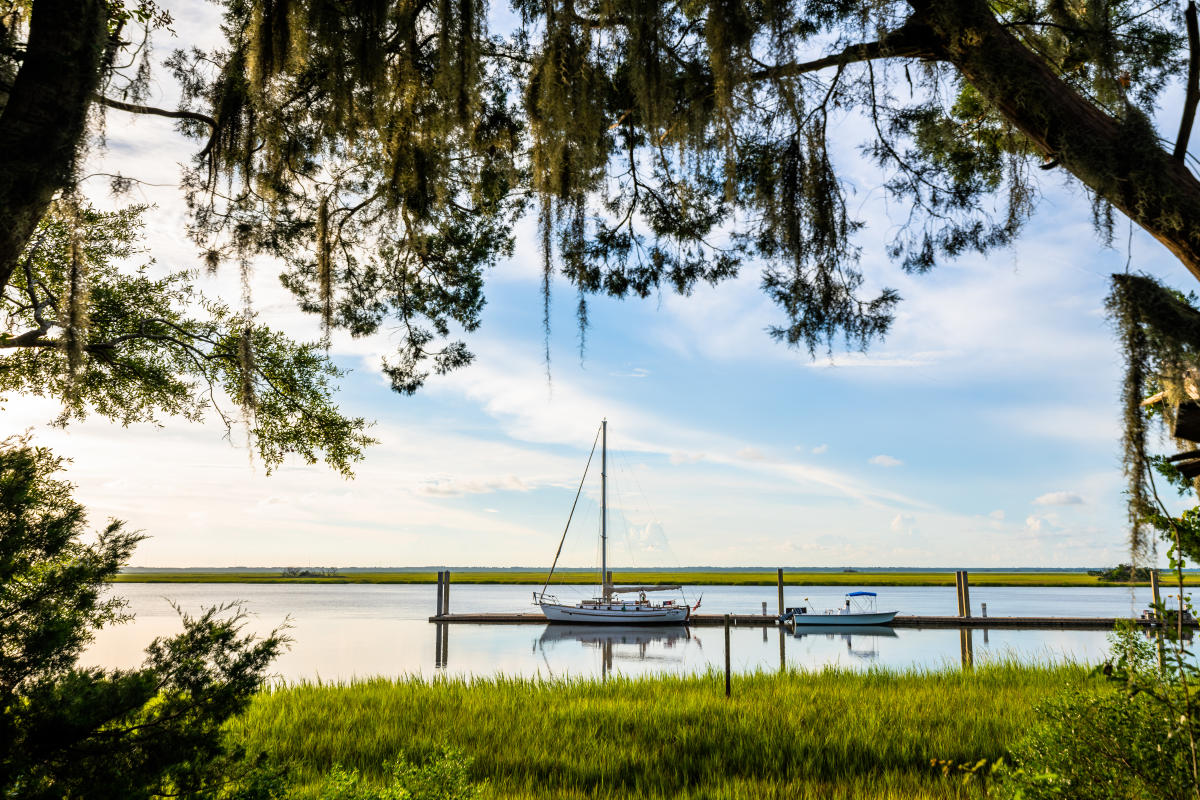A sailboat is docked in the marshes along Gascoigne Bluff on St. Simons Island, Georgia