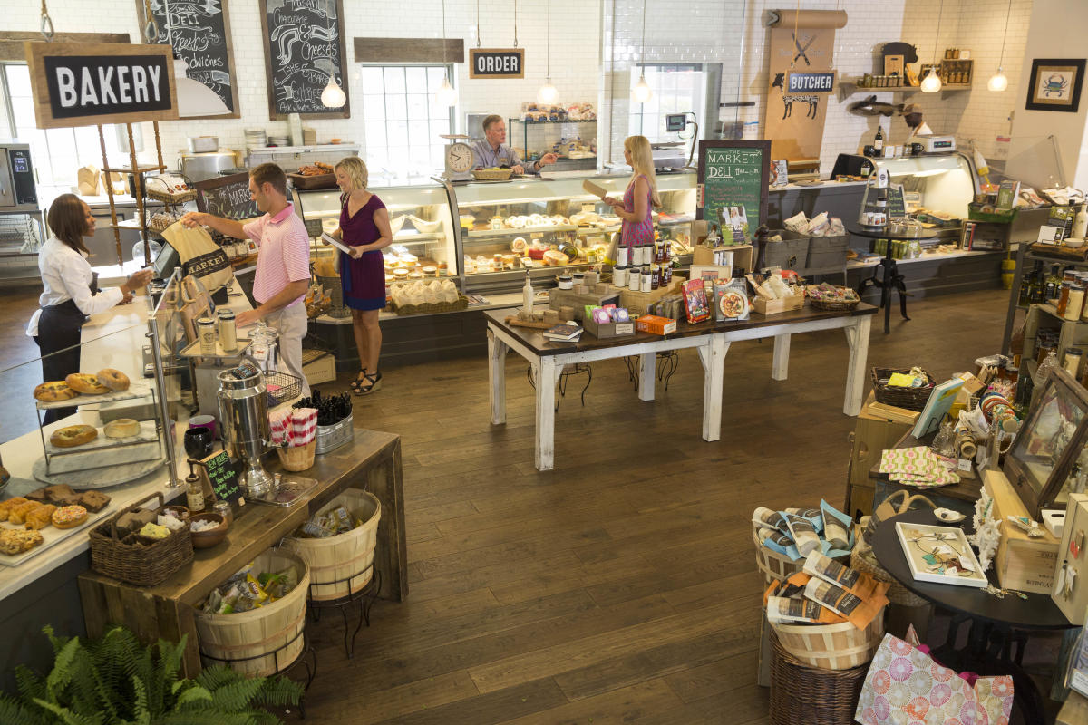 Patrons shopping at The Market at Sea Island specialty shop on St. Simons Island, GA