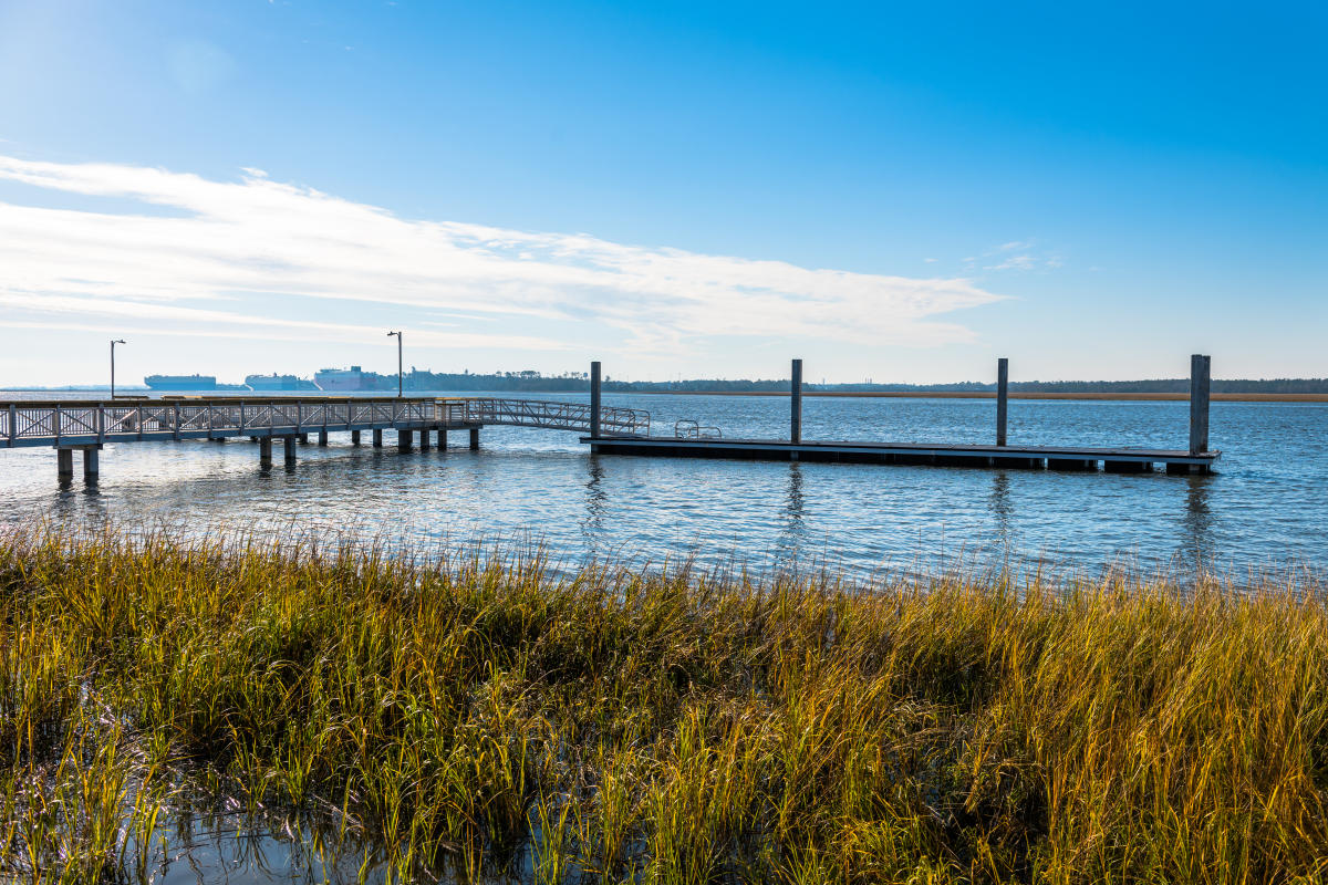 The fishing pier at Blythe Island Regional Park in Brunswick, GA is open to the public