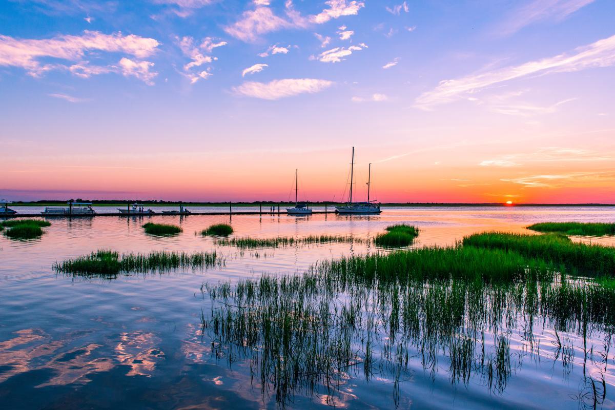 Sunset over the marsh on Jekyll Island, Georgia