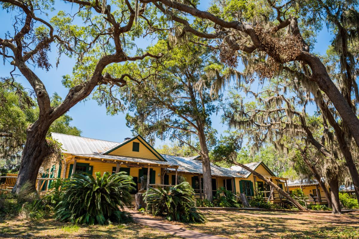 A rustic hunting cabin has been converted to the main lodge on Little St. Simons Island, Georgia