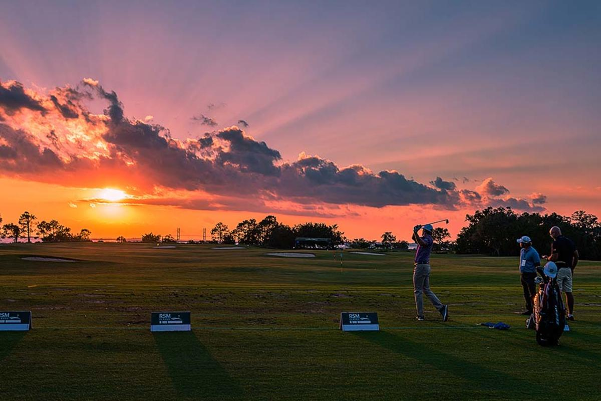The sun sets behind the driving range at The Lodge's Golf Performance Center at Sea Island, GA