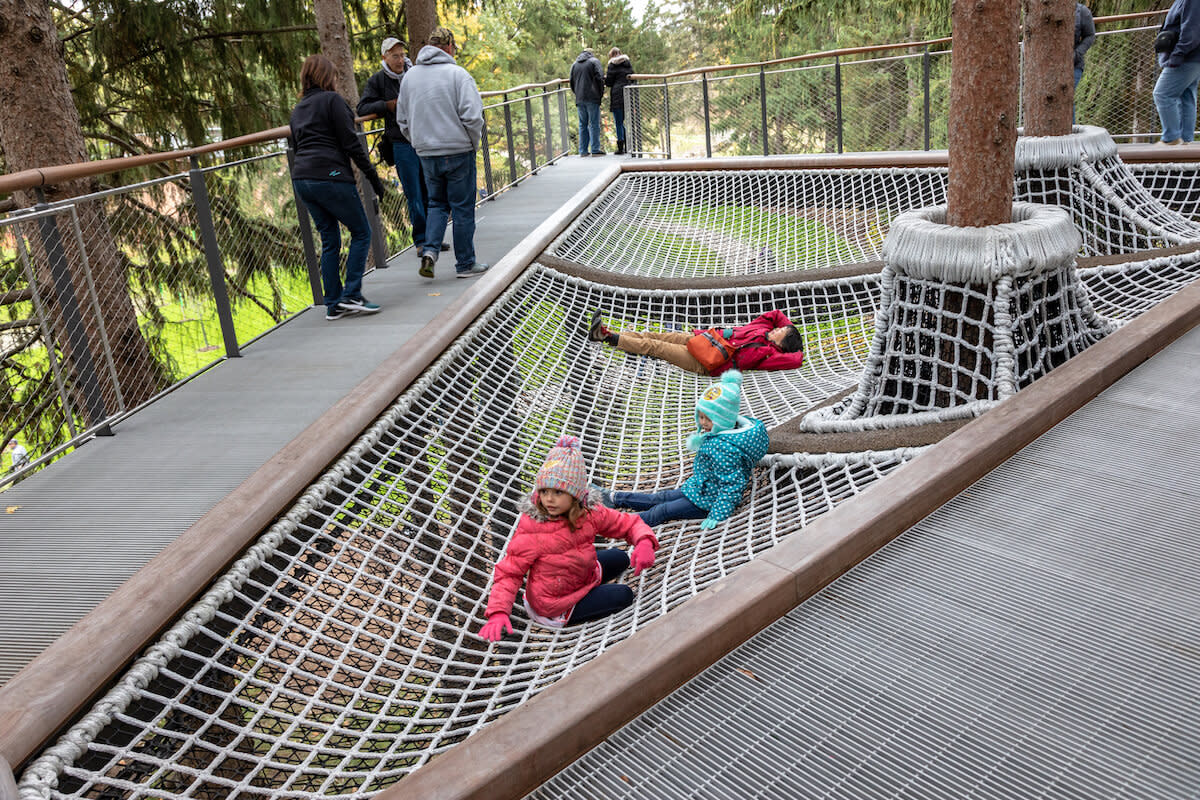 children laying and sitting on canopy walk netting