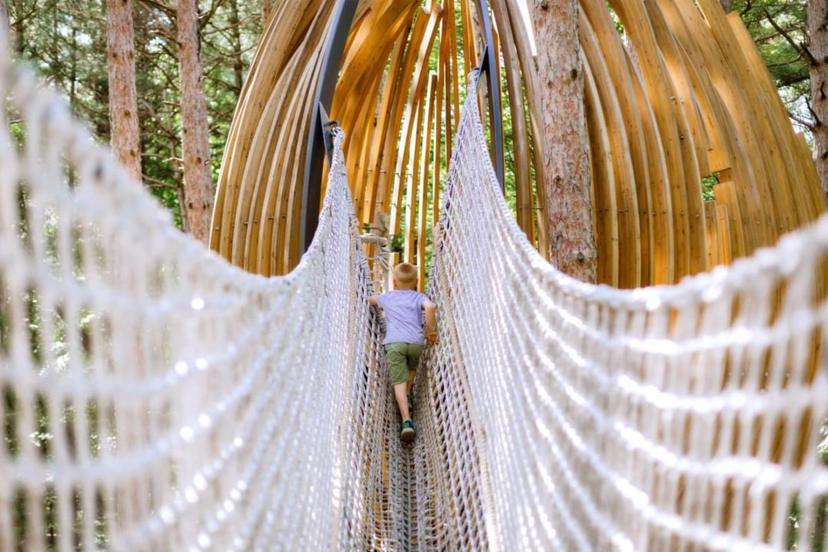 Boy crossing the cargo net bridge to a wooden pod play structure along the Whiting Forest of Dow Gardens Canopy Walk