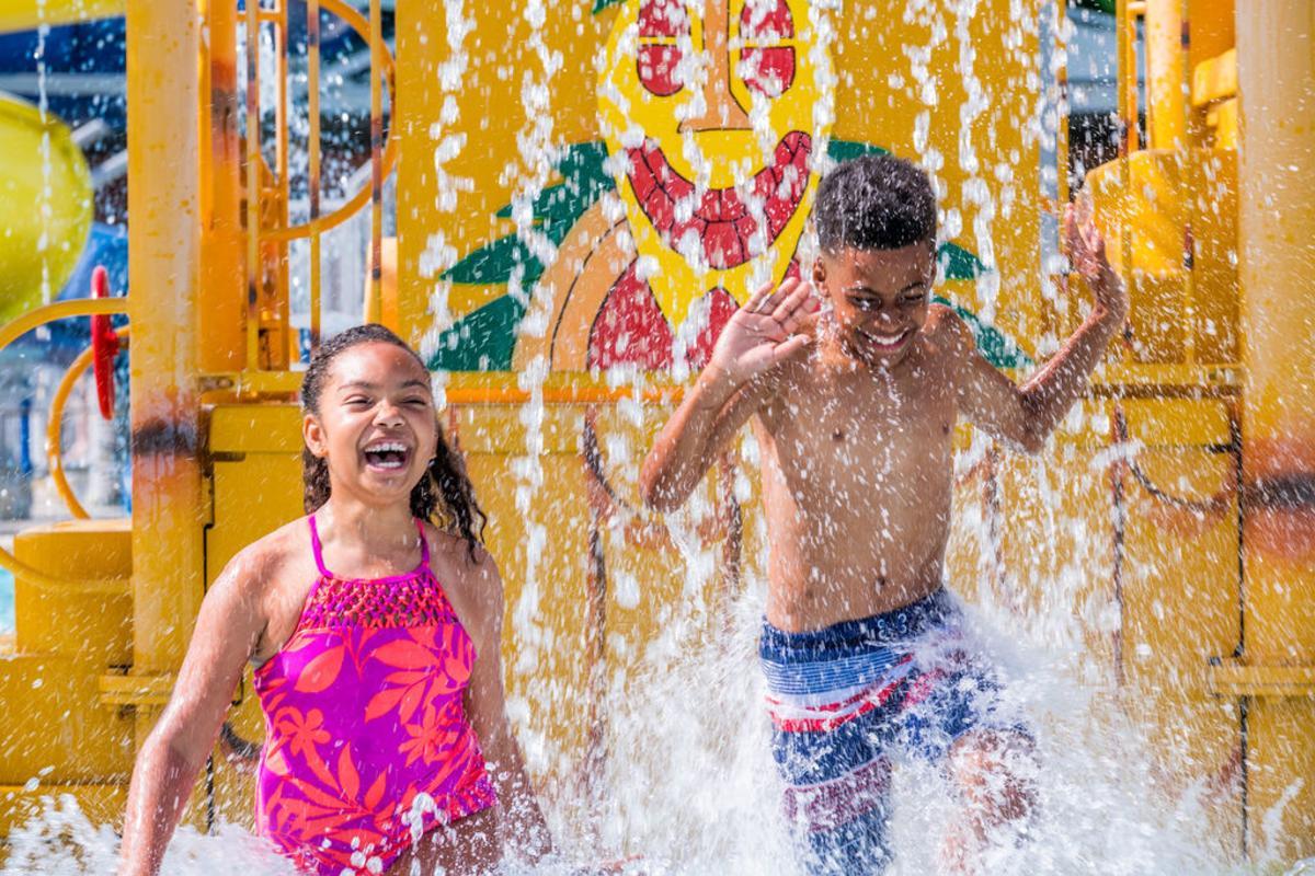 Kids Playing at Splash Island