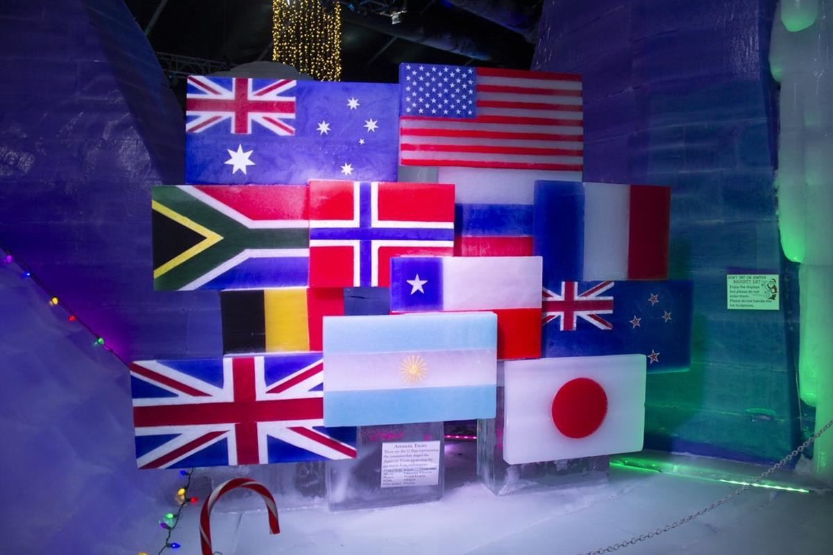 A display of flags at Ice Land 2019