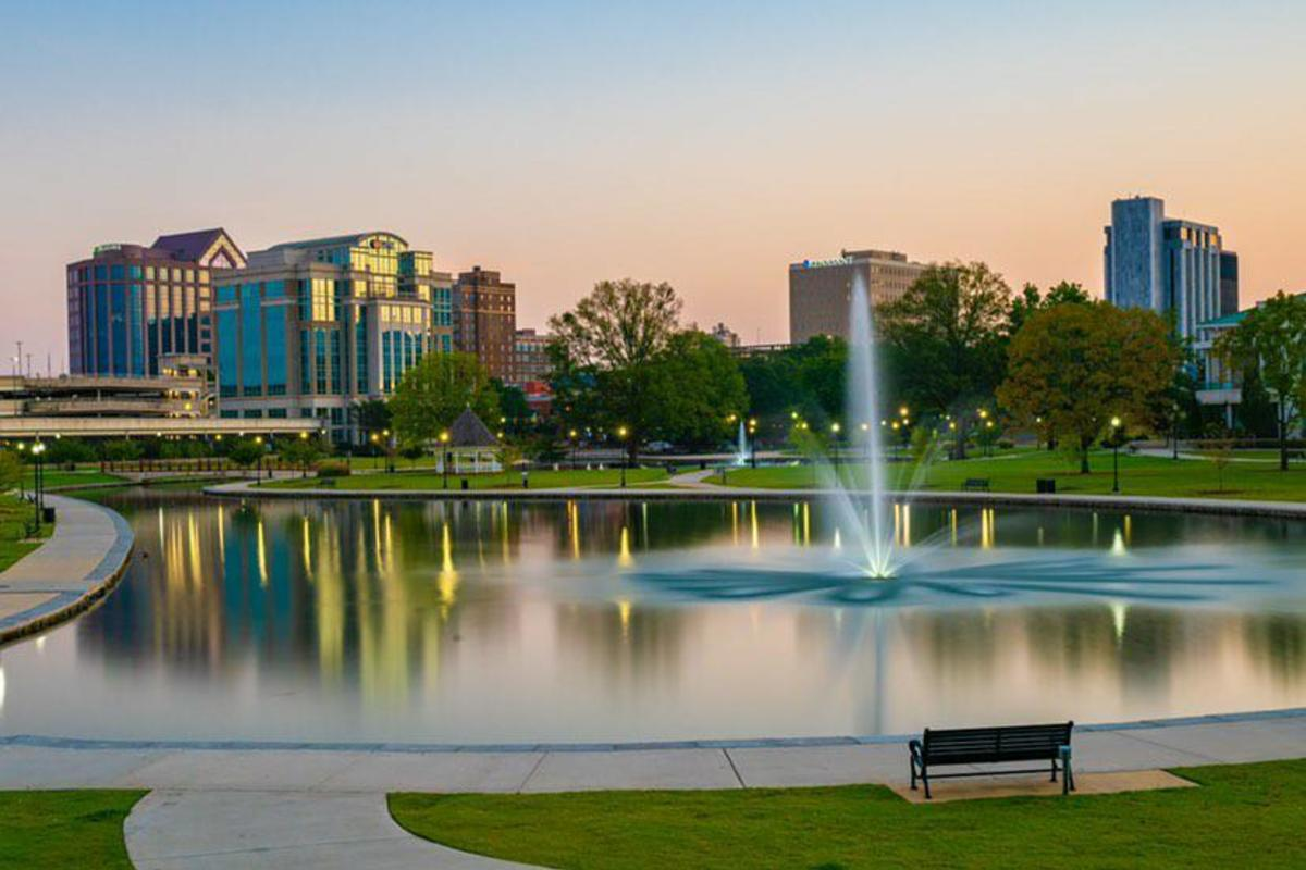 Huntsville Parks and Rec Big Spring Park View Of Water Fountain
