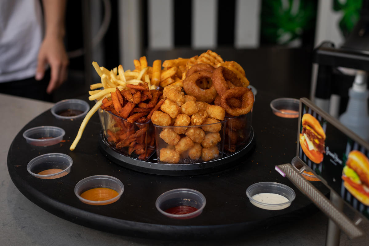 The fry roulette at Trade Food Hall in Irvine comes with 6 delicious fried foods and 12 dipping sauces.