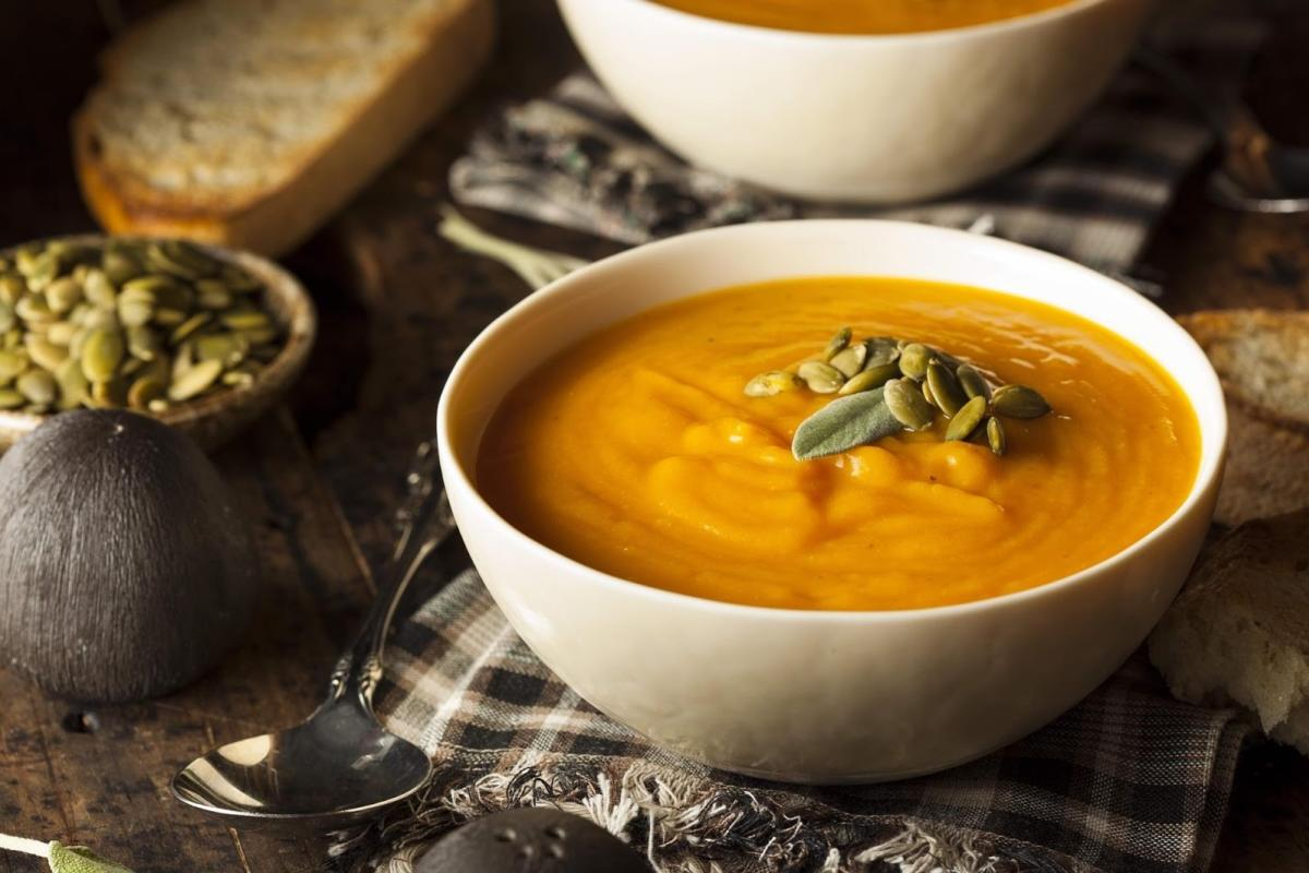 Butternut Squash Soup with Fried Sage Leaves