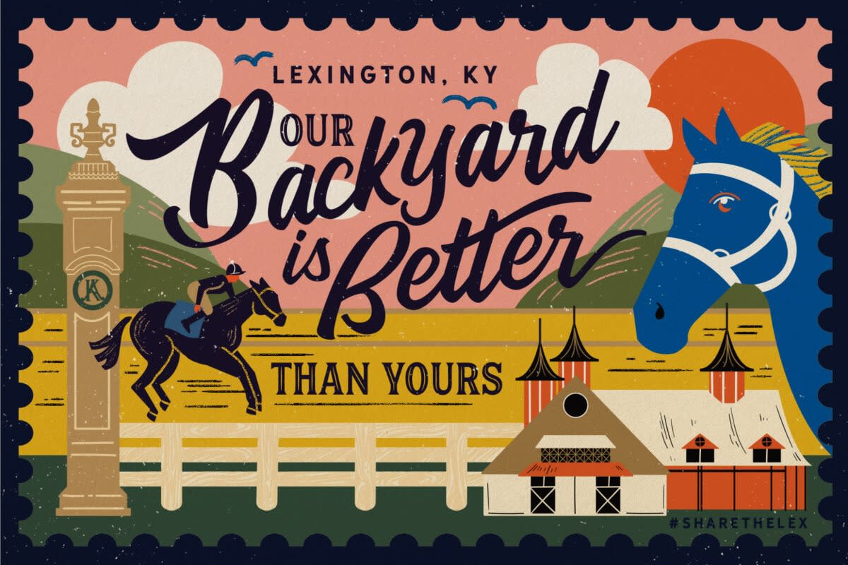 "Digitally illustrated postcard with a vintage style. Features a blue horse, a barn, a jockey and horse, and rolling green hills with a bright orange sun. The postcard says ""Our backyard is better than yours"""