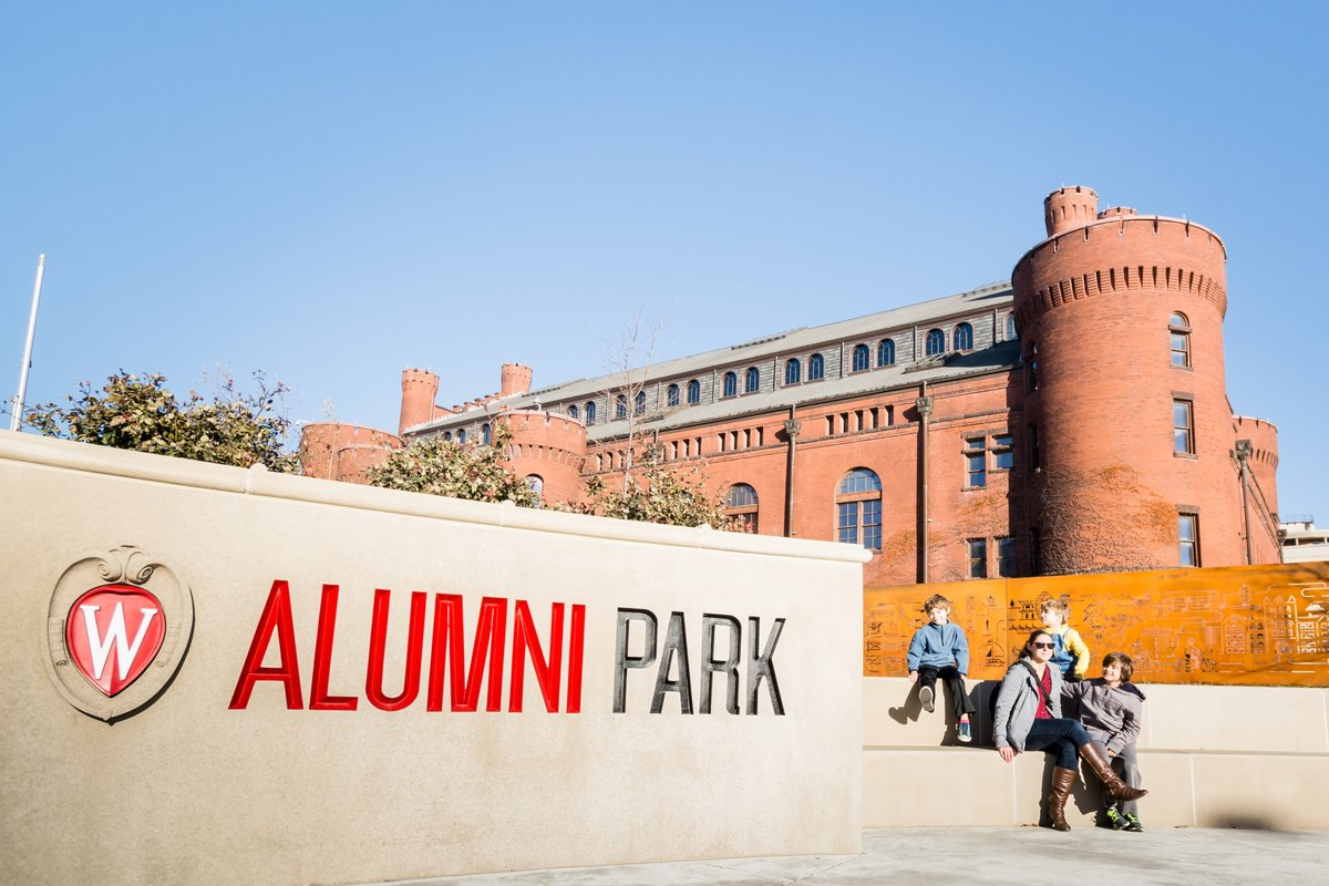 Alumni Park sign on a sunny day