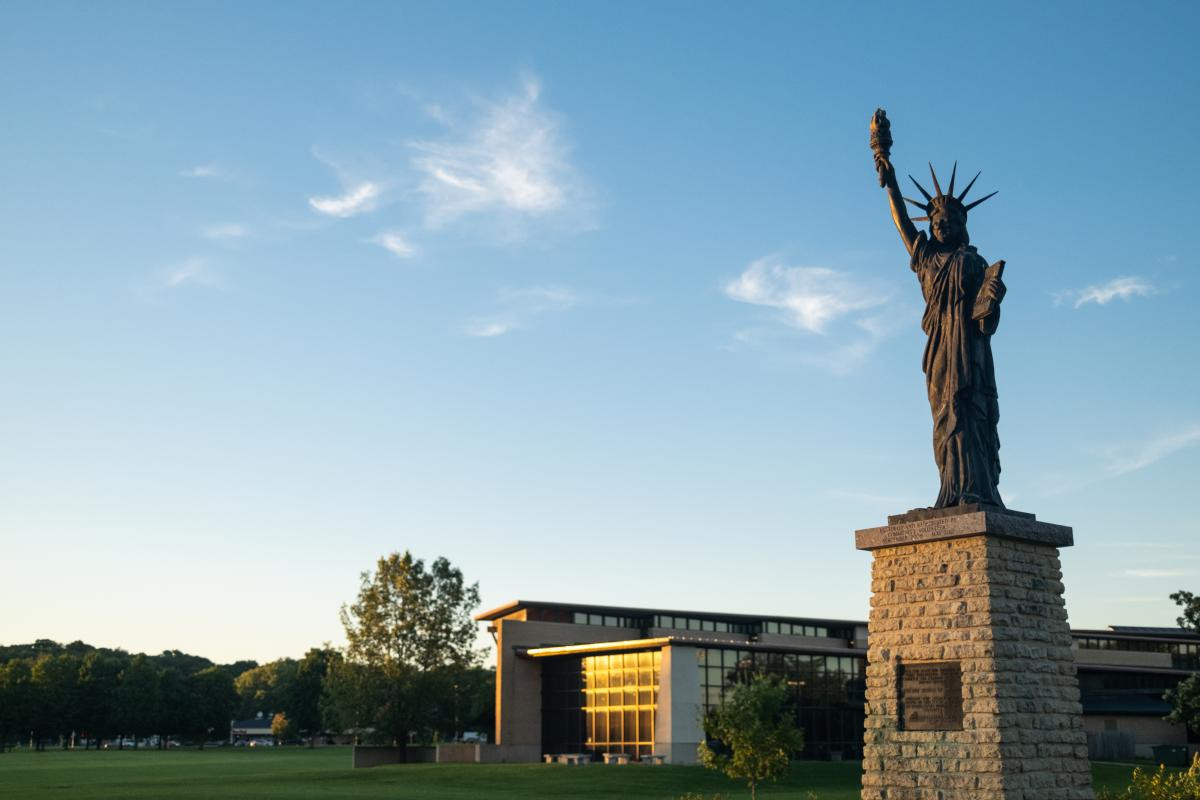 An 18-foot Statue of Liberty replica at Warner Park