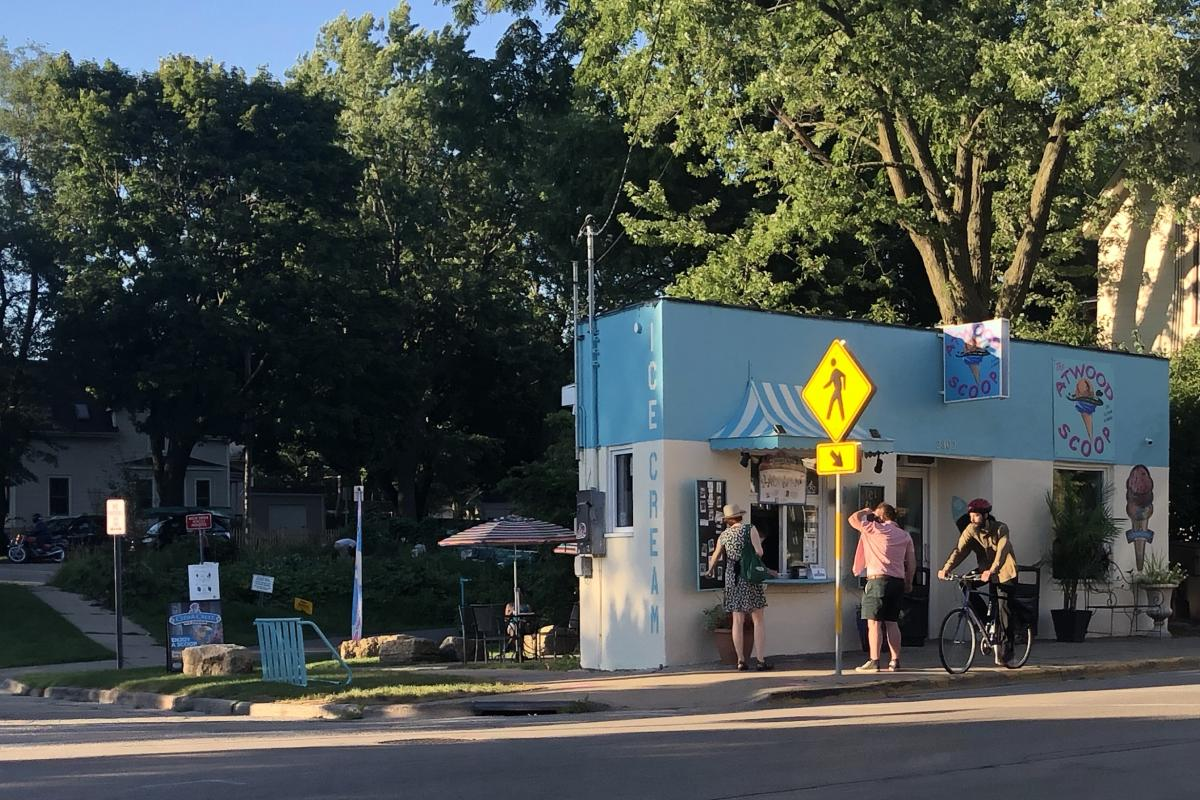 The front of the Atwood Scoop ice cream shop