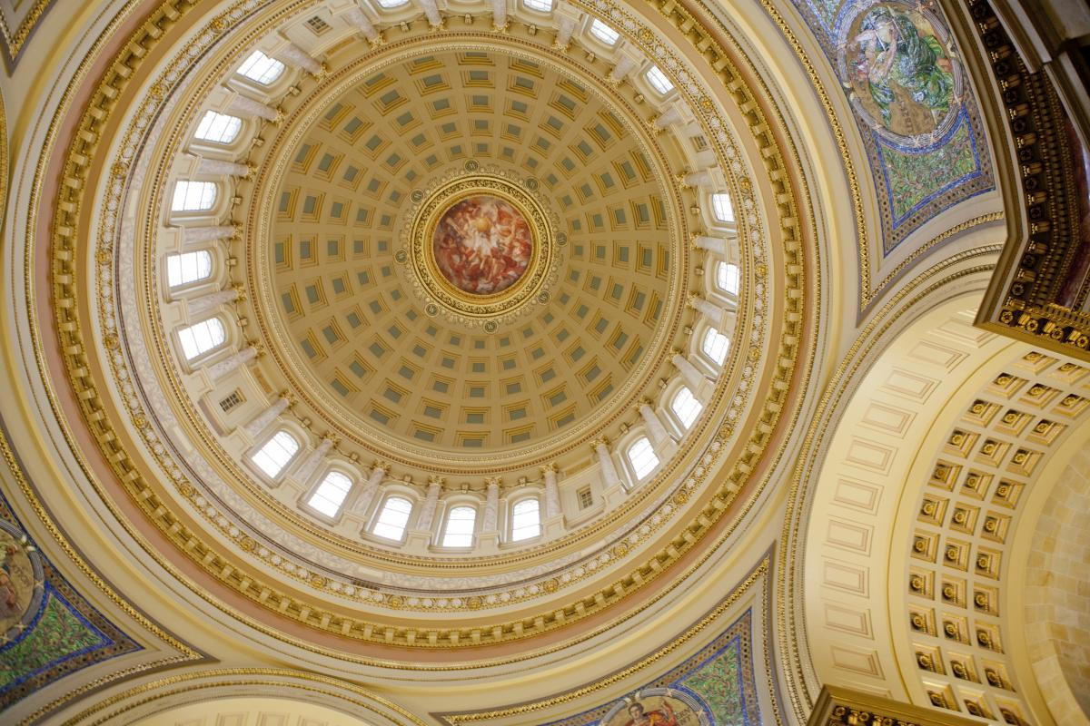 A view of the Capitol dome from inside