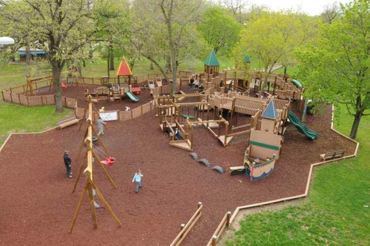 Aerial view of the playground at Fireman's Park