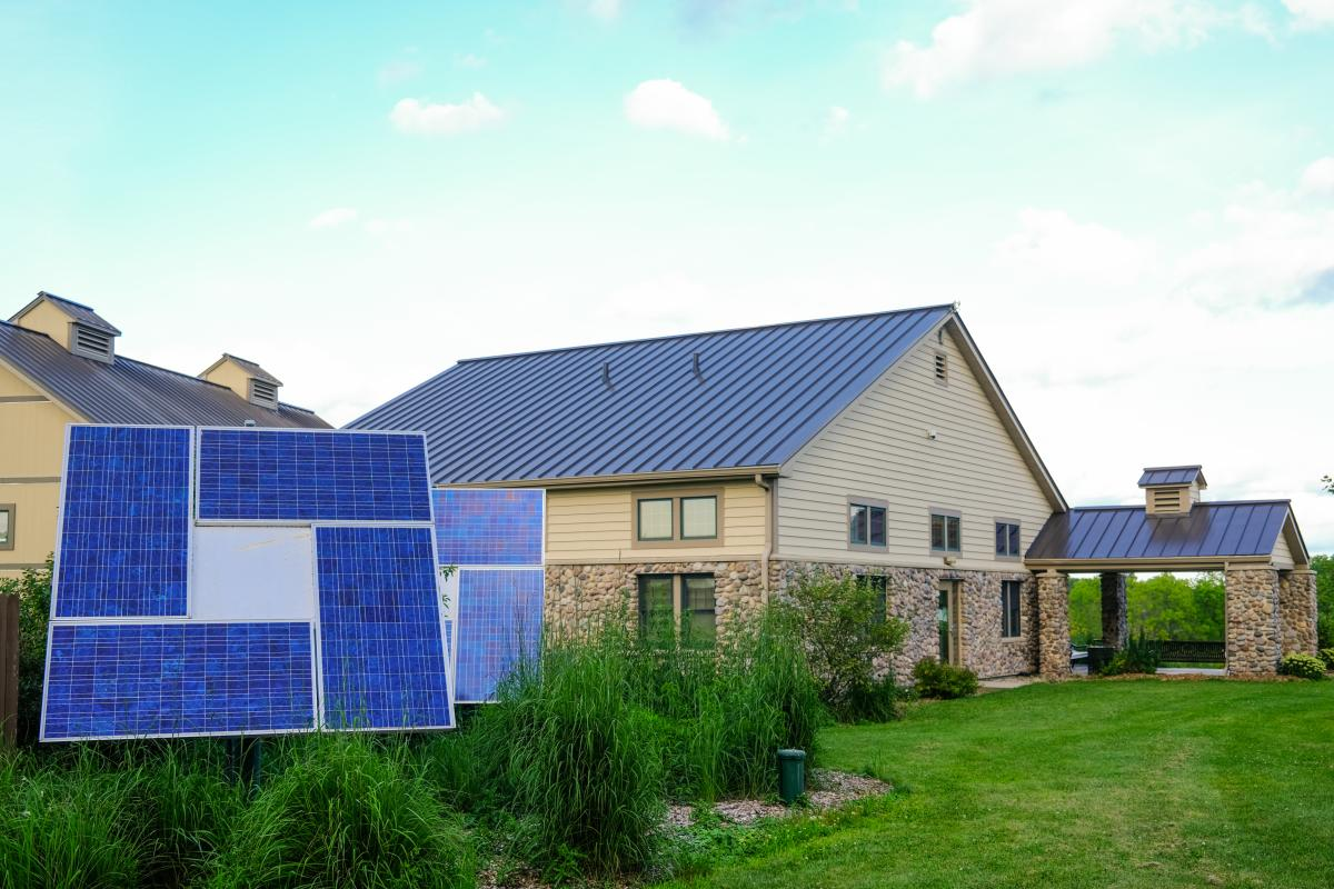 A set of solar panels near a building