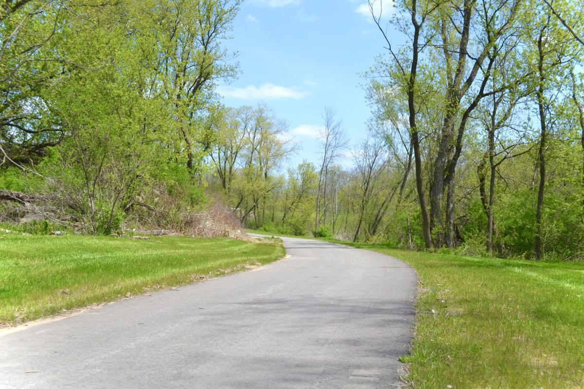 A paved portion of Military Ridge State Trail
