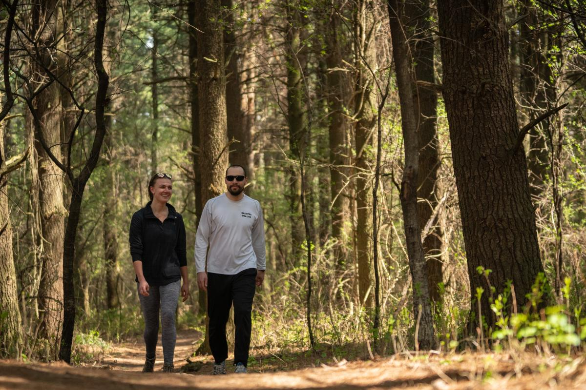 A couple hikes on a wood trail in the Arboretum