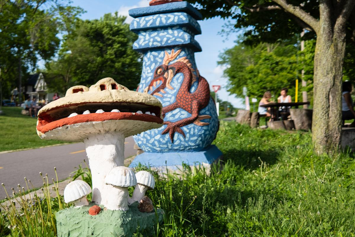 Smiling Mushroom and Blue Urn Sculptures by Sid Boyd