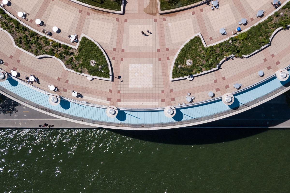 Aerial shot of the rooftop at Monona Terrace