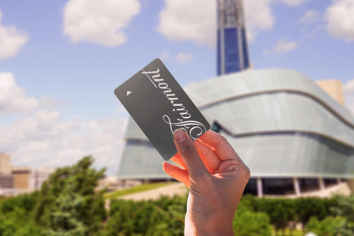 Fairmont Winnipeg_key in front of CMHR