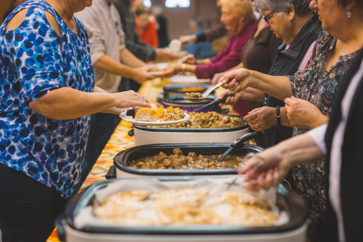 Food being served at a fall supper in Beausejour, Manitoba