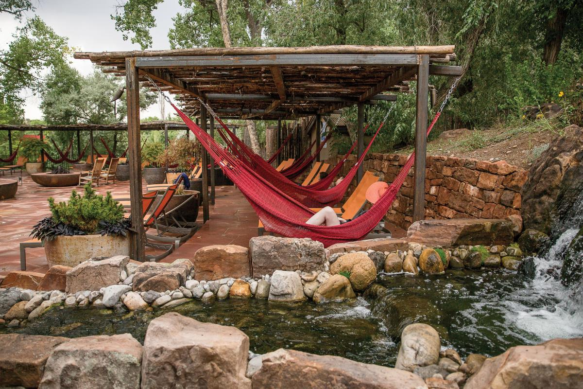 Hammocks surround the new Repose Pools, which are open to day visitor.