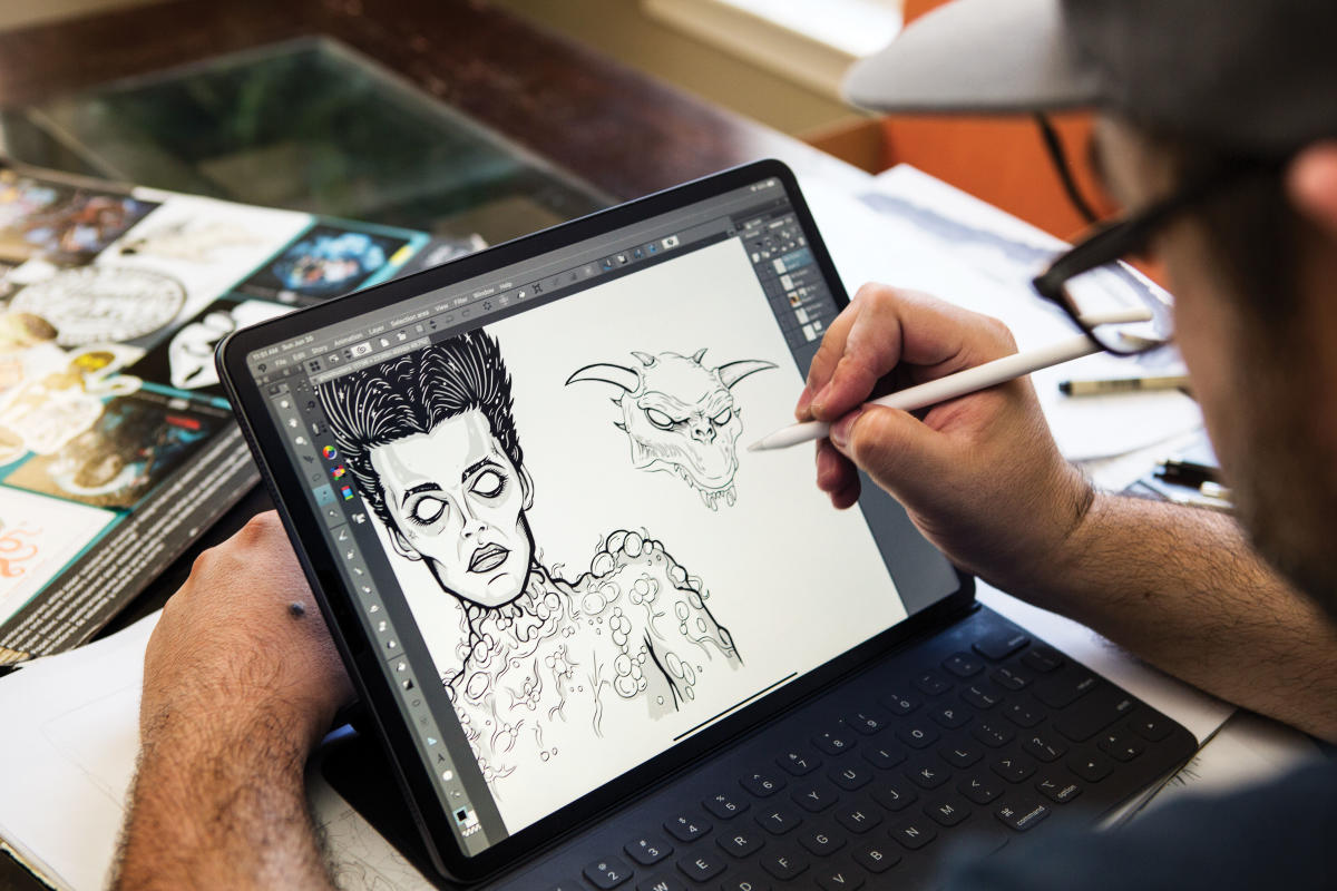 Ghostbusters characters come to life on a digital art pad