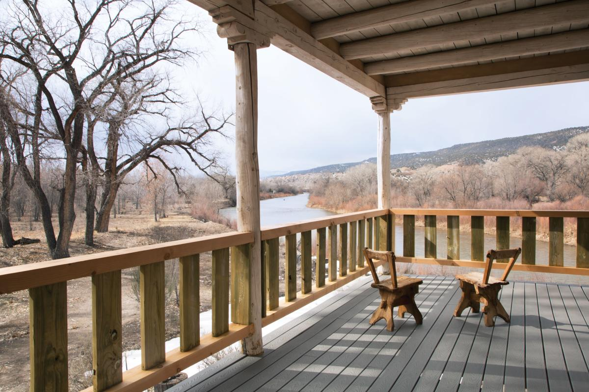 The deck of the River House at Los Luceros Historic Property