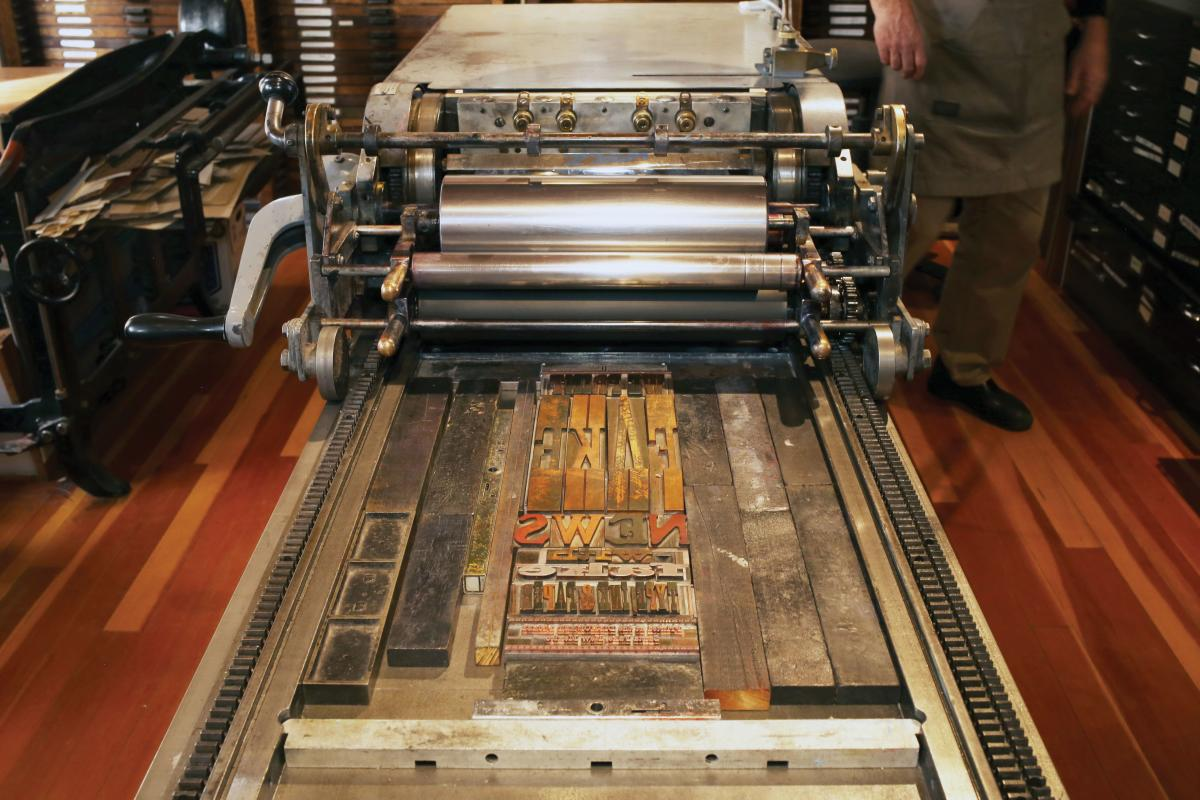 Up close to with the Vandercook Press.