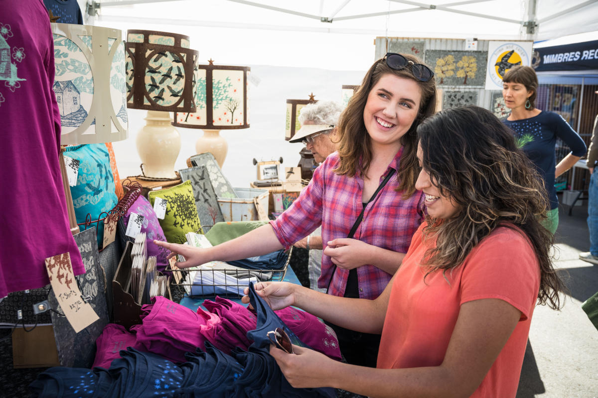 Ladies shopping at the Fiber Arts Festival