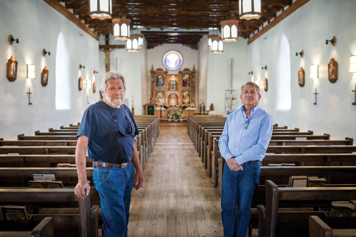 Mark Sideris (left) and Flavio Cisneros led the restoration of St. Anthony's church