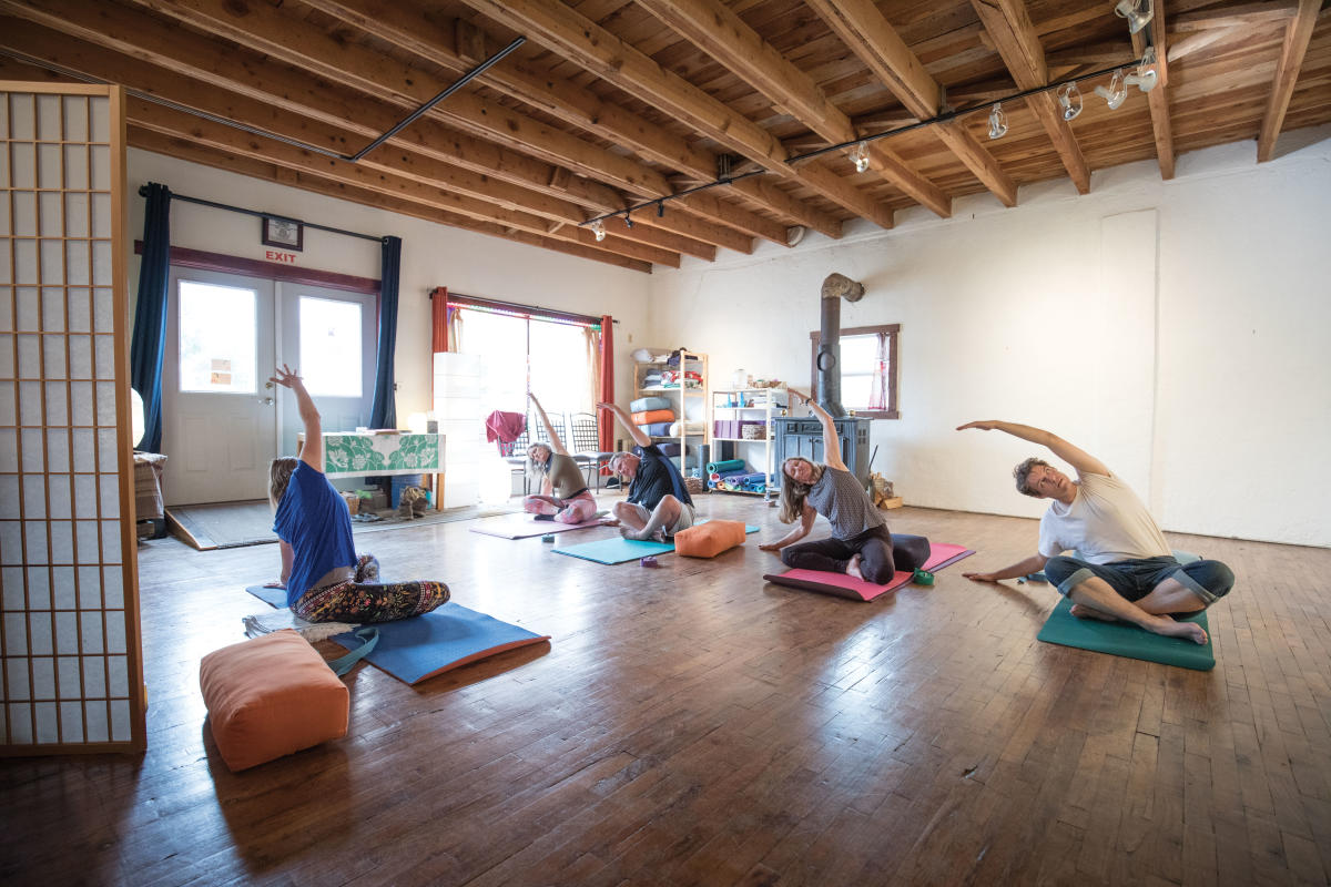 Gaea McGahee teaches a yoga class at La Sala