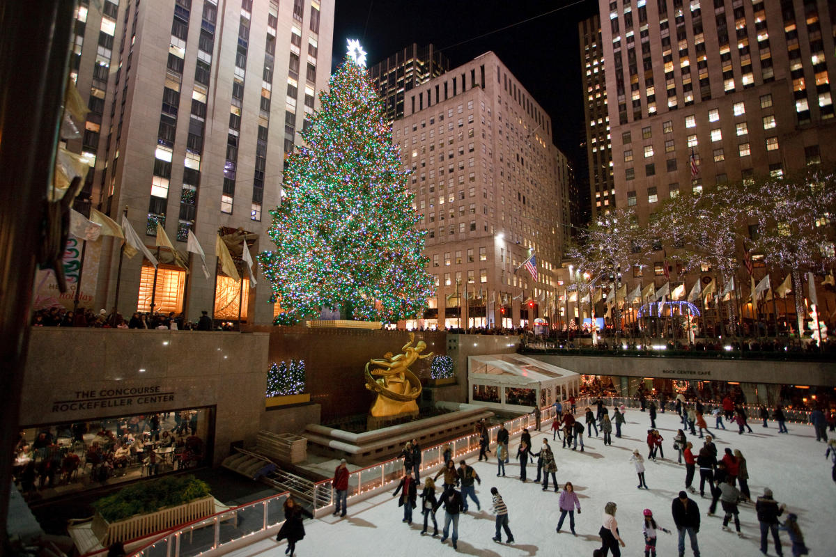 Rink at Rockefeller Center, winter, night