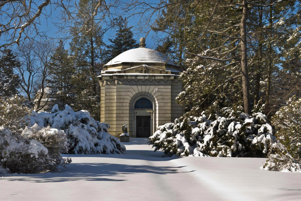 woodlawn cemetery, snow, winter