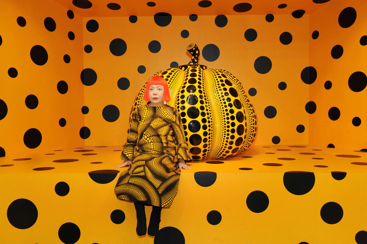 Kusama with Pumpkin, 2010 (c) YAYOI KUSAMA. Courtesy, Ota Fine Arts, Tokyo/ Singapore/ Shanghai; Victoria Miro, London; David Zwirner, New York