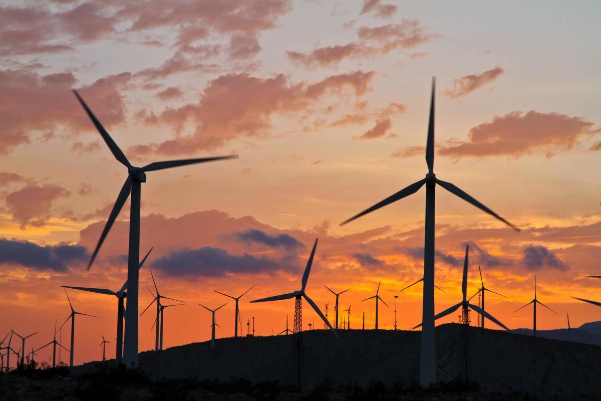 Windmills at sunset in Palm Springs
