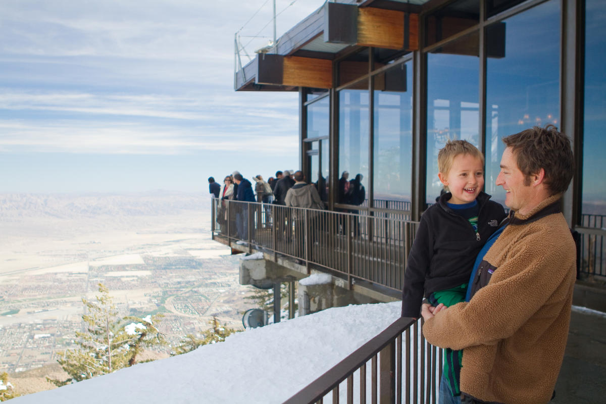 A family atop the observation deck at the Palm Springs Aerial Tramway.