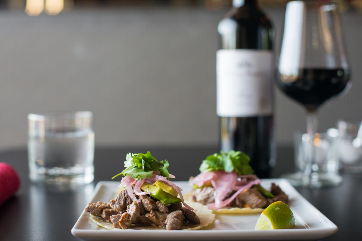 Tacos and wine from Cork & Fork