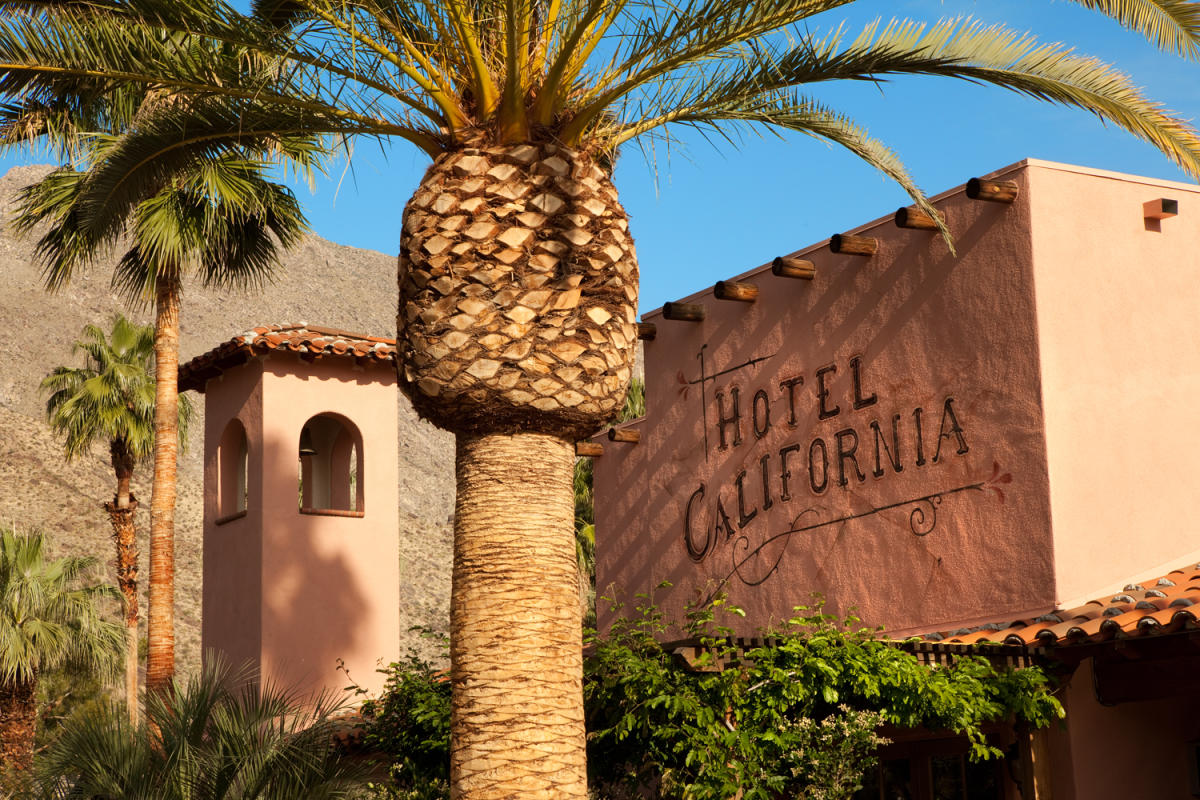Exterior signage at the Hotel California in Palm Springs, California
