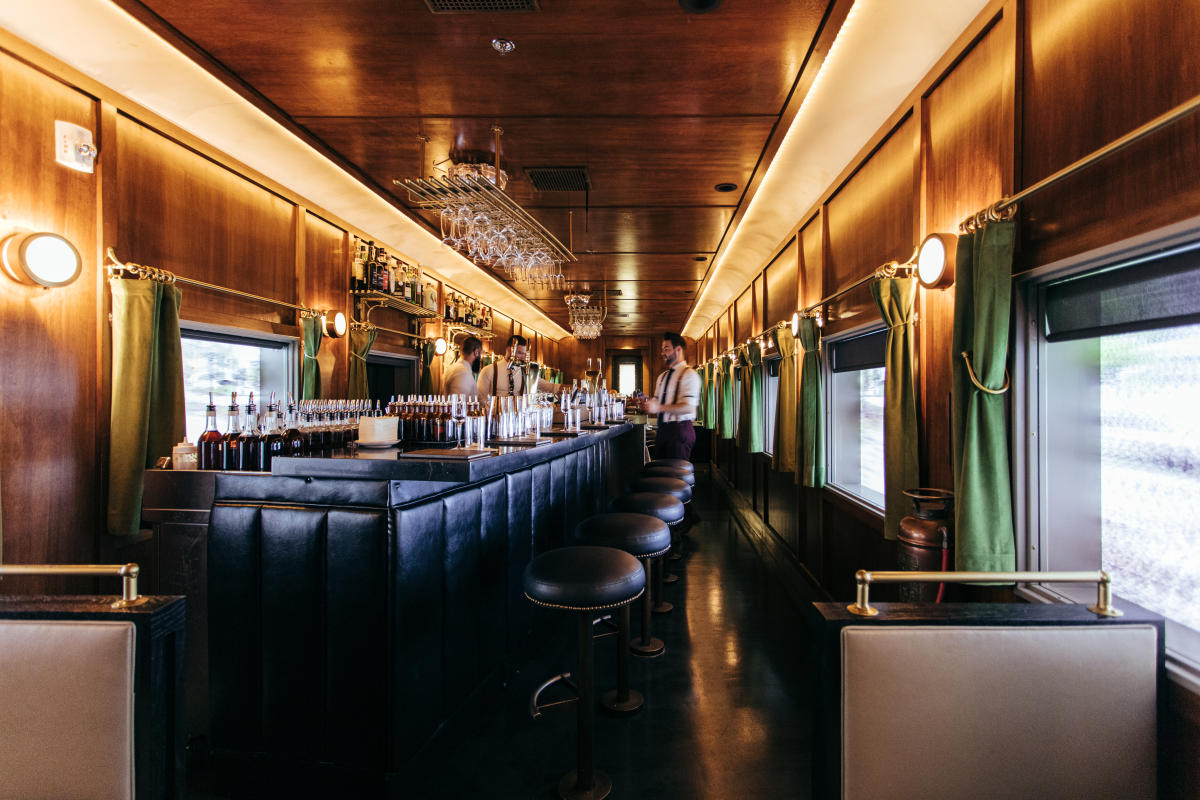 Presidential Pullman-inspired train car, cocktail experience comfortably seats 36 guests.