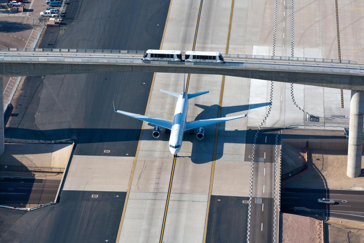 PHX Sky Train Aerial View of Plane