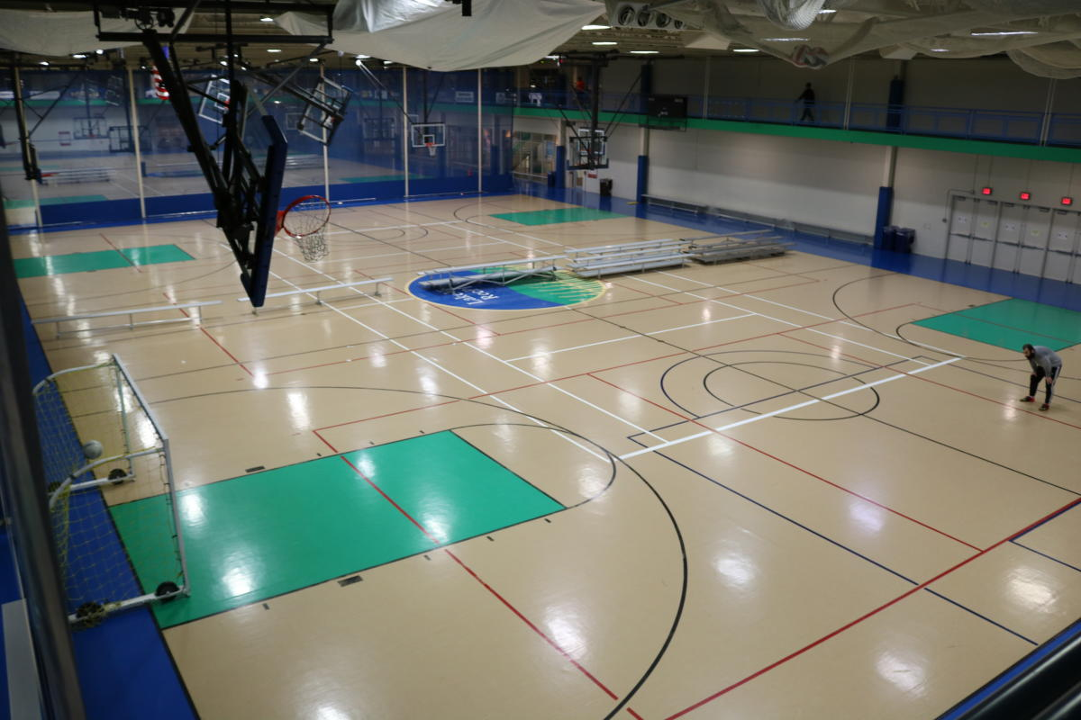 RecPlex fieldhouse showing suspended track