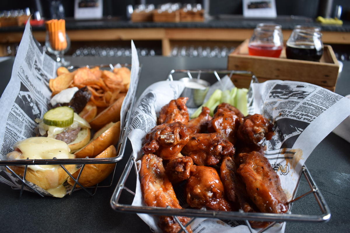 Burger and Basket of Wings at Wallenpaupack Brewing Co