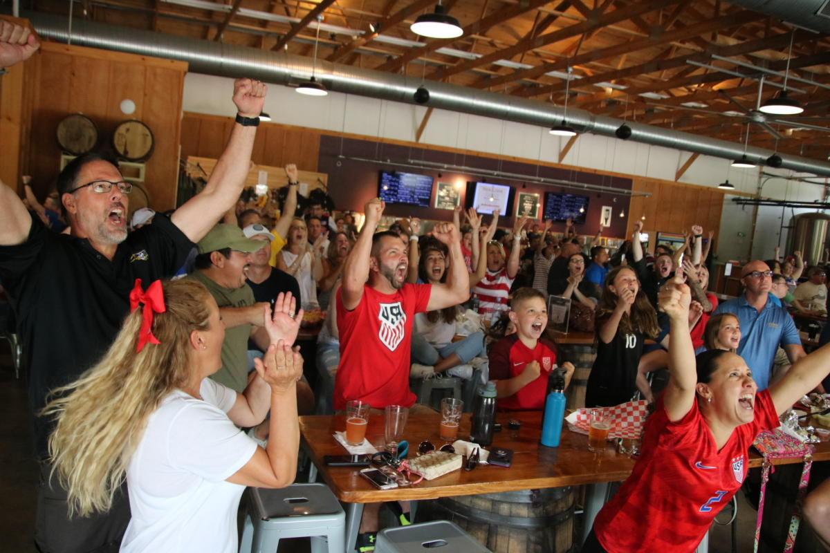 The Farm Brewery at Broad Run fans celebrating sporting event