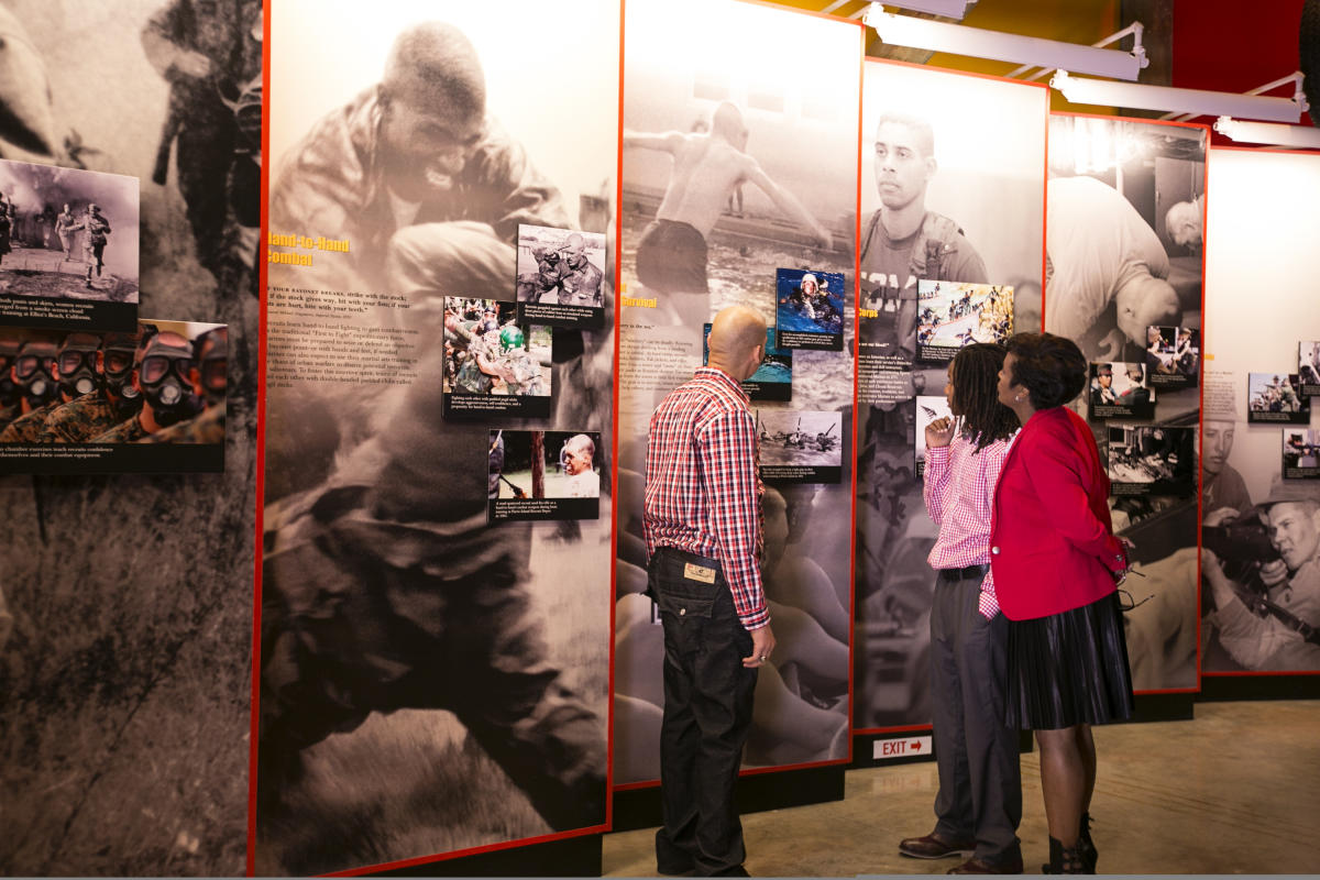 African American Family at National Marine Corps Museum exhibit