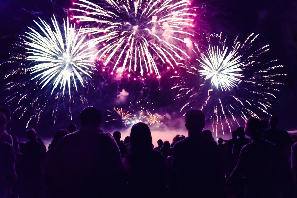 fireworks and crowd stock image