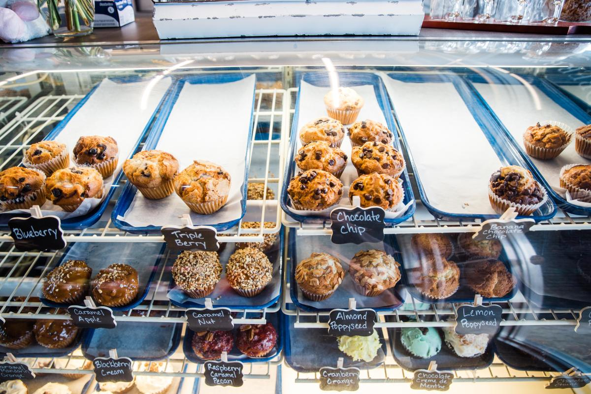 Various types of muffins in a display case at Hollanberry Pannekoeken in Rochester, MN.