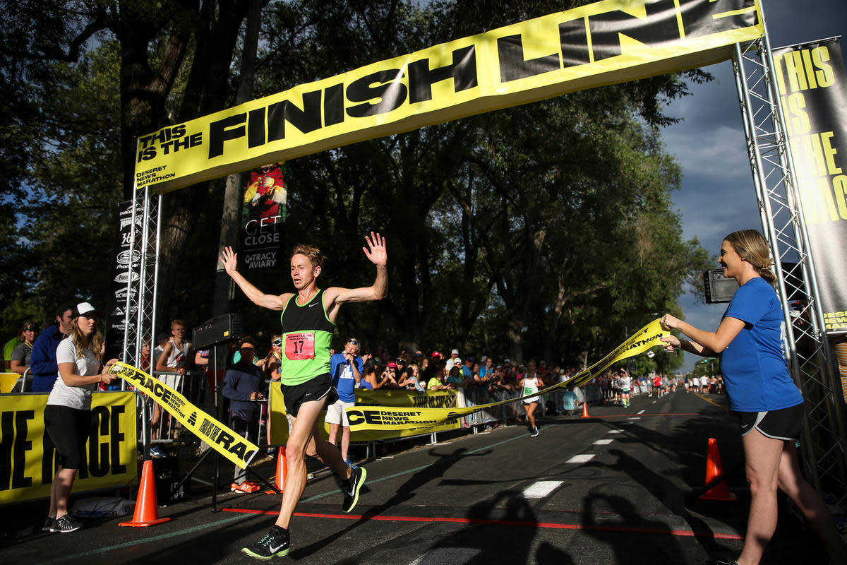 Jonathan Kotter places first in the Deseret News Marathon. Photo by Spenser Heaps, Deseret News
