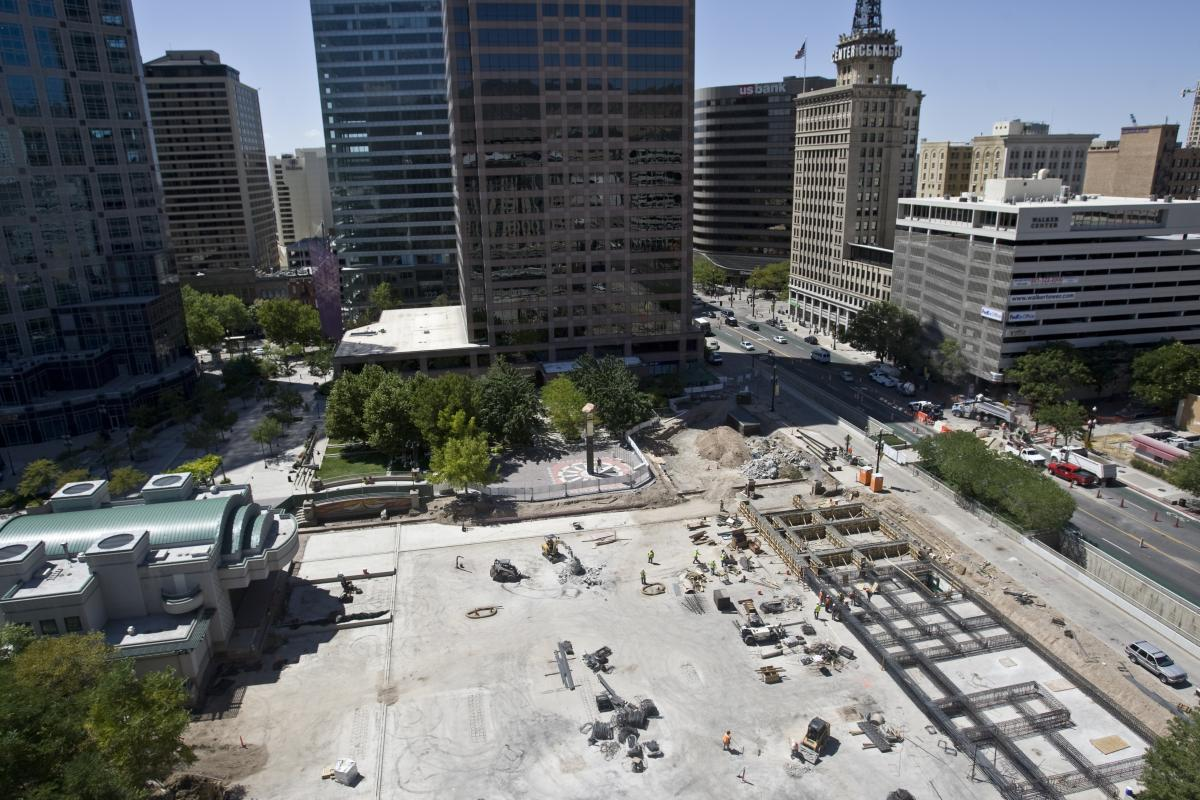 The Gallivan Center during construction in 2011